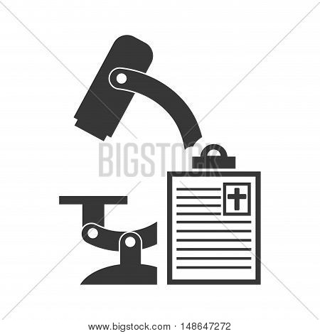 microscope research tool with medicine report table silhouette. vector illustration