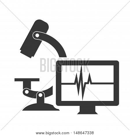 microscope research tool with monitor computer and pulse report screen. vector illustration
