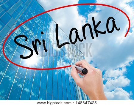 Man Hand Writing Sri Lanka With Black Marker On Visual Screen
