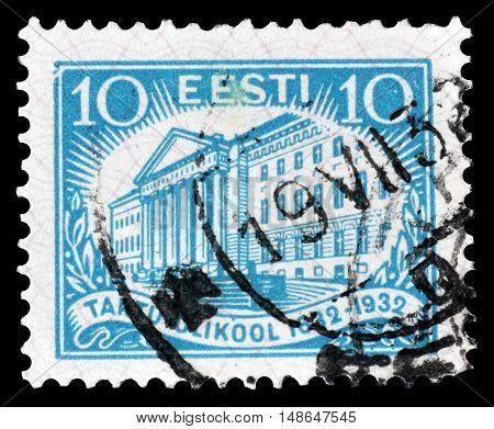 ESTONIA - CIRCA 1932 : Cancelled postage stamp printed by Estonia, that shows University of Tartu.