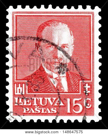 LITHUANIA - CIRCA 1934 : Cancelled postage stamp printed by Lithuania, that shows President Antanas Smetona.
