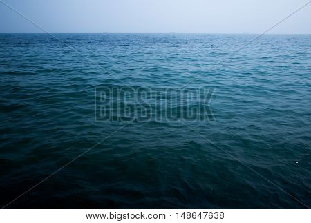 Blue sea with waves and clear blue sky. ocean