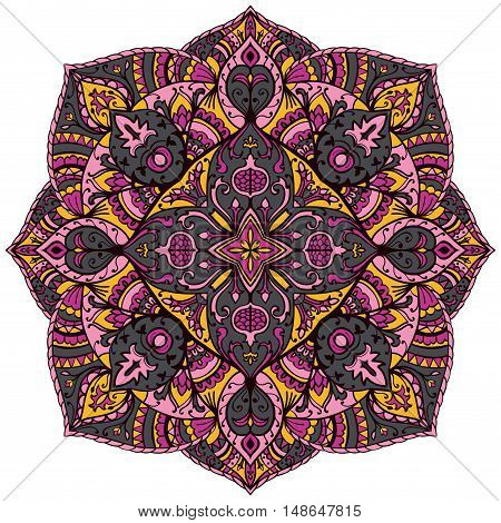 Floral yellow pink and grey mandala on a white background. Oriental ornament. Template for carpet shawl wallpaper textile.