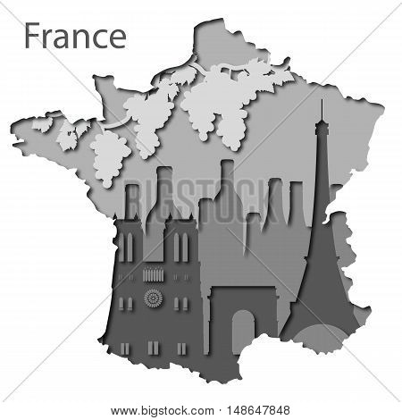 Paper map of France, different leyers whith country symbols