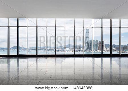 modern skyscraper in hong kong from glass window