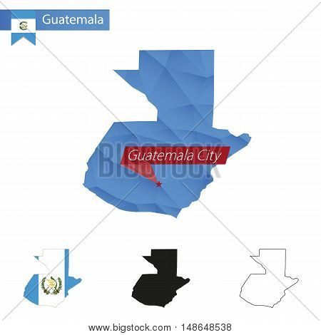 Guatemala Blue Low Poly Map With Capital Guatemala City.