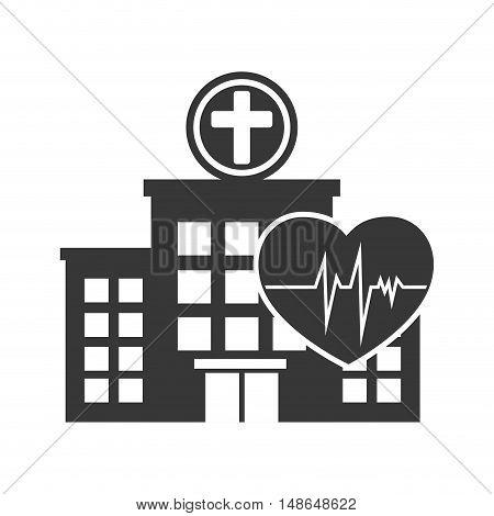 hospital center building with cardio pulse heart silhouette. vector illustration