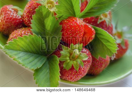 Strawberry on the green plate with green leaves.