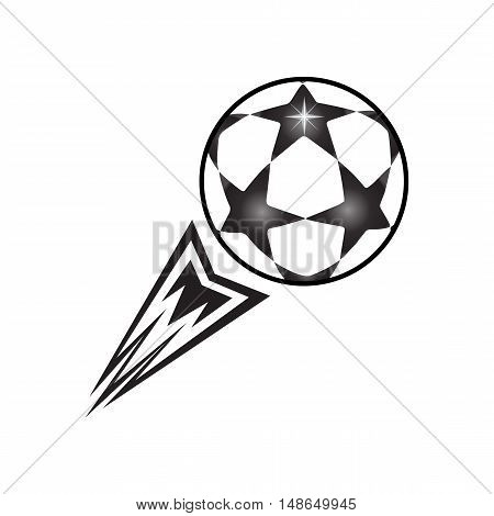 Stars Soccer Ball fly, isolated on white background, Soccer ball fly up flat icon. League Champions Soccer ball. Football stars ball sign. Vector illustration. Black and white color. T-Shirt Print. Football World Cup label. European championship. T-shirt