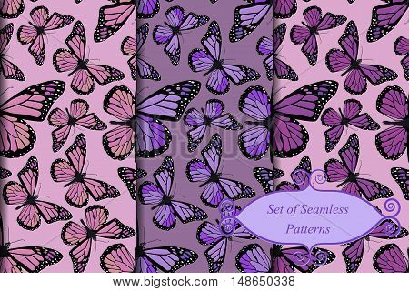 Vector set of three seamless butterfly patterns.