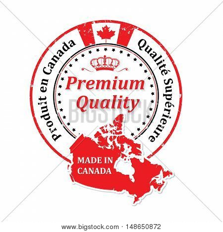 Made in Canada, Premium Quality (French Language) - grunge label containing the map and flag colors of Canada. Print colors used