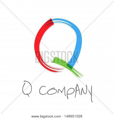 Vector initial letter Q scrawled colored text