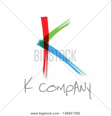 Vector initial letter K scrawled colored text