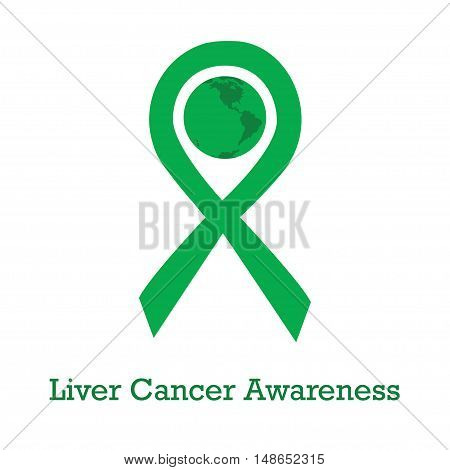 International day of liver cancer awareness vector illustration with green ribbon traditional symbol and earth globe in similar colors. Perfect for badges banners ads flyers social campaign charity events on oncology problem