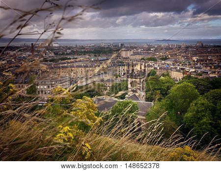 Panoramic aerial view over the Leith district of Edinburgh as seen from Calton Hill, Scotland, UK