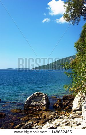 Nature on the Adriatic coast on a clear sunny summer day