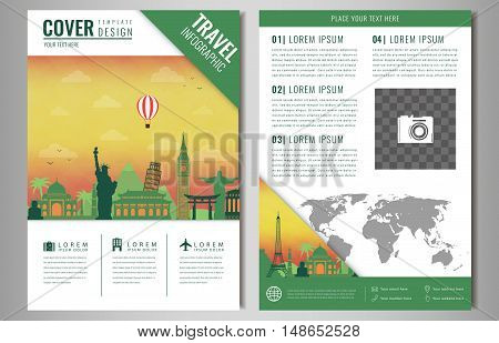 Travel brochure design with famous landmarks and world map. Template for Travel and Tourism Business concept. Vector illustration
