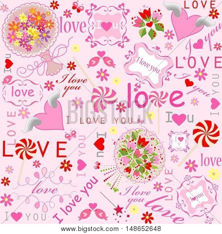 Cute lovely wallpaper with hearts, candy, frames, bouquets and wishes