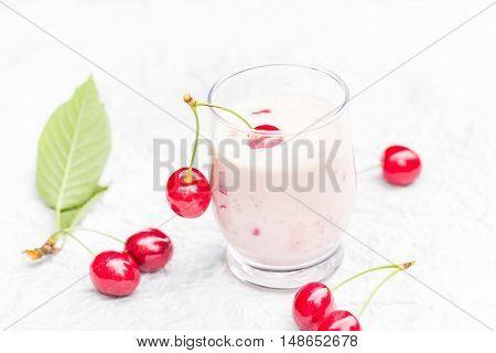 Refreshing Summer Drink Fruit Cocktail Cherries