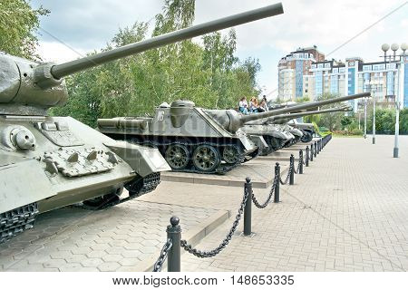 BELGOROD RUSSIA - August 30.2016: Old models of military weaponry participating in a battle on the Museum Square next to Diorama the Kursk battle