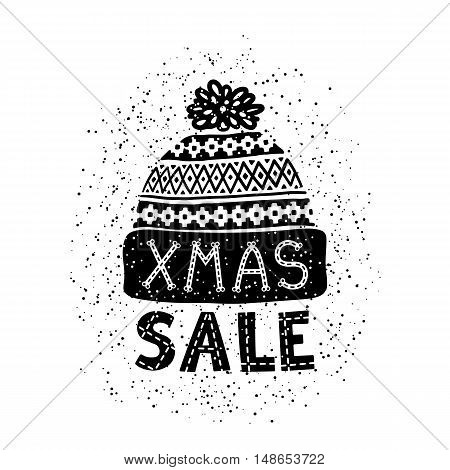 Winter sale banner or label with a knitted woolen cap. Business seasonal shopping concept sale. Isolated vector illustration.
