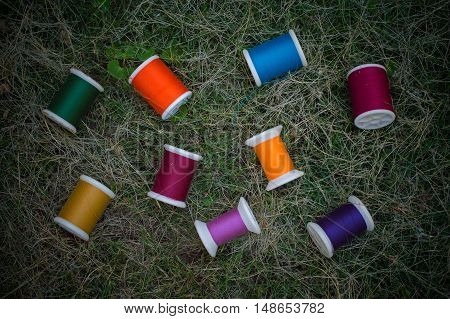 Multicolor bobbins on green grass for sewing background