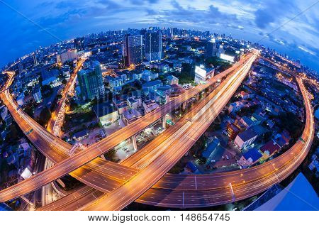 Bangkok Expressway and Highway top view during twilight time , Thailand