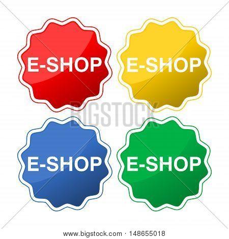 E shop vector design, E shop button on white background