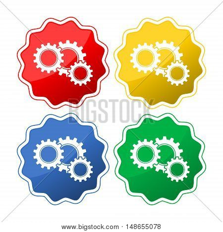 Colorful gears icon set on white background