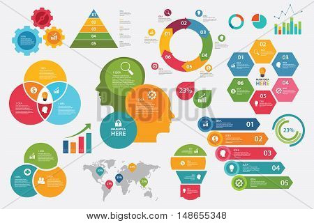 info graphic vector set graphic chart arrow steps collection vector elements