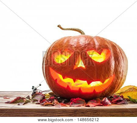 Grinning pumpkin lantern or jack-o'-lantern is one of the symbols of Halloween.