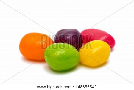 fruit jelly beans isolated on a white background