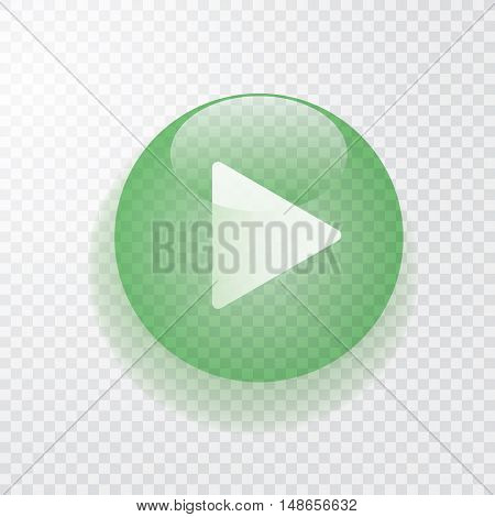 green transparent play button with shadow, vector icon
