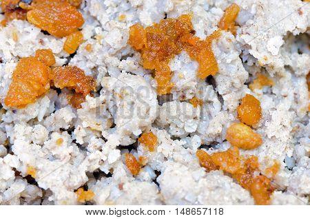 Ajdovi žganci (buckwheat spoonbread) is a national Slovene dish made from buckwheat flour, water, salt, cracklings and oil.