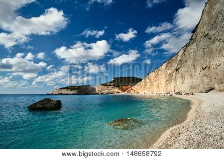 Beach and rocky cliff on the Greek island of Lefkada