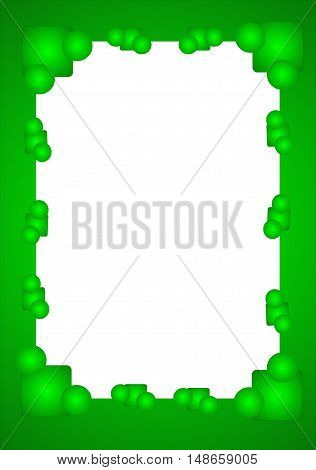 abstract green frame with dice and balloons suitable as a container