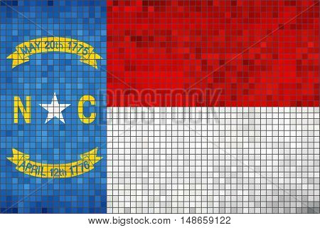 Abstract Mosaic flag of North Carolina - illustration,  The flag of the state of North Carolina,  North Carolina grunge mosaic flag