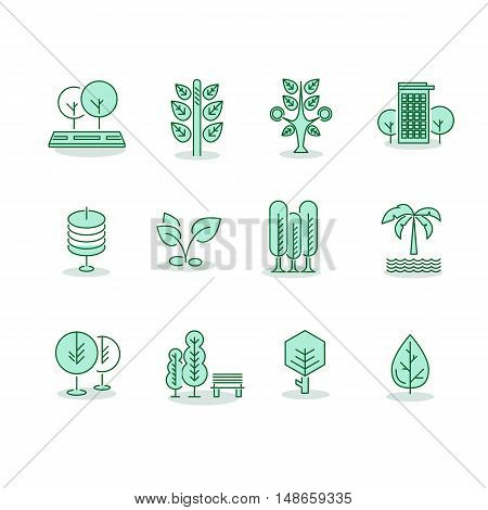 Trees set thin line vector icons on white