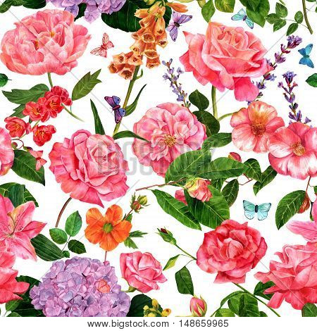A seamless botanical pattern with hand drawn watercolor flowers - roses, camellias, and others - and butterflies, on white background