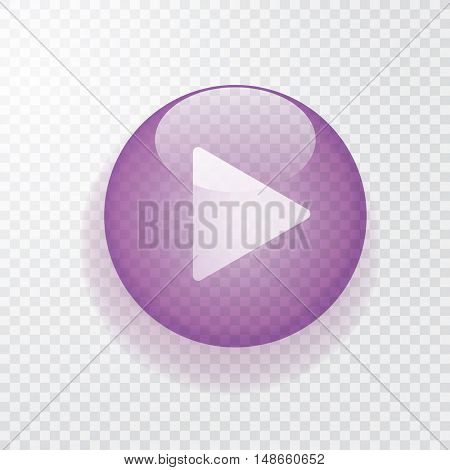 violet transparent play button with shadow, vector icon