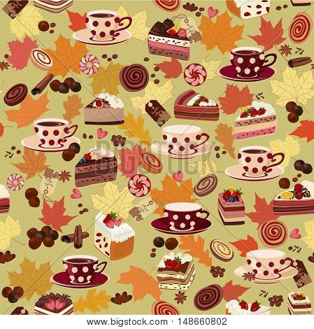 Coffee, cakes, pastries, chocolate, spices and autumn leaves in the background.