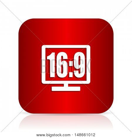 16 9 display red square modern design icon