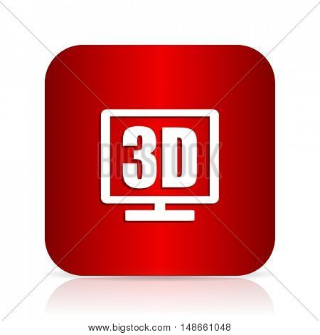 3d display red square modern design icon