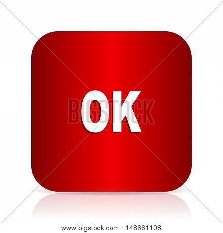 ok red square modern design icon