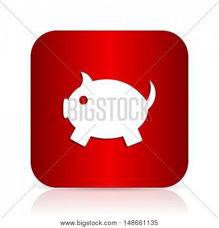 piggy bank red square modern design icon