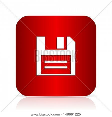 disk red square modern design icon