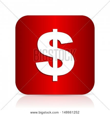 dollar red square modern design icon