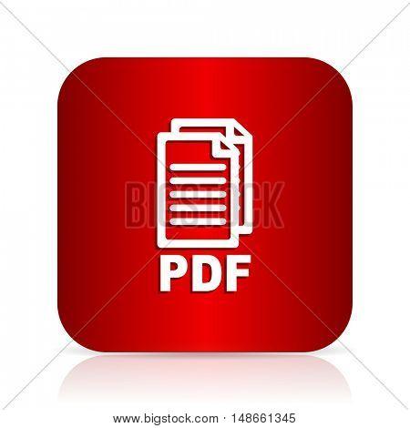 pdf red square modern design icon,