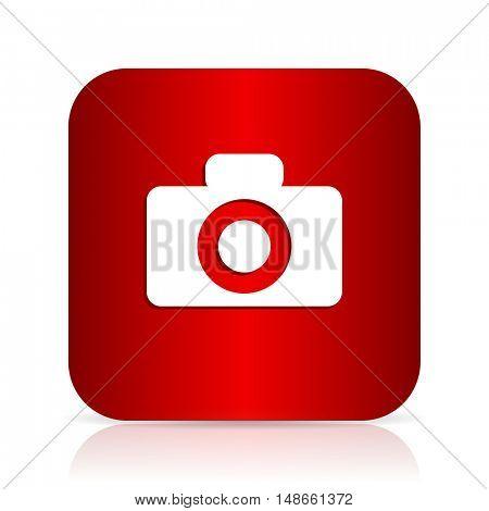 camera red square modern design icon