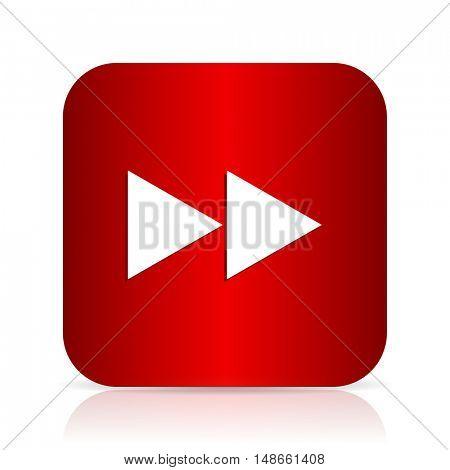 rewind red square modern design icon